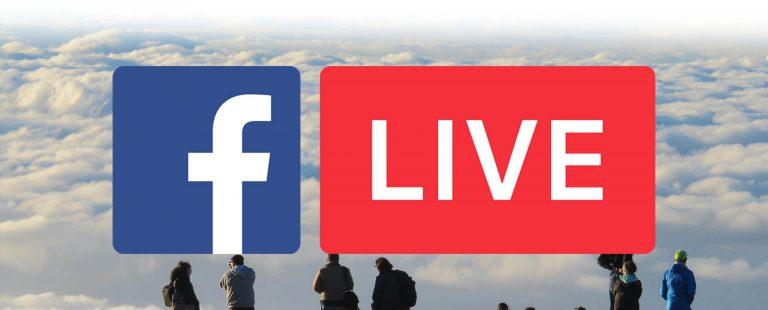 Facebook Live logo over clouds