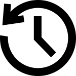 Rewind arrow around a clock to depict timeshifted viewing