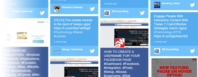A grid of social media posts from facebook and twitter