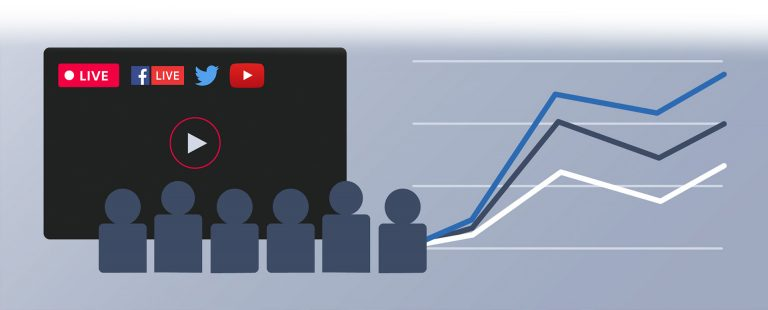 A group of figures watch streaming video on social media whilst graphs trend upwards