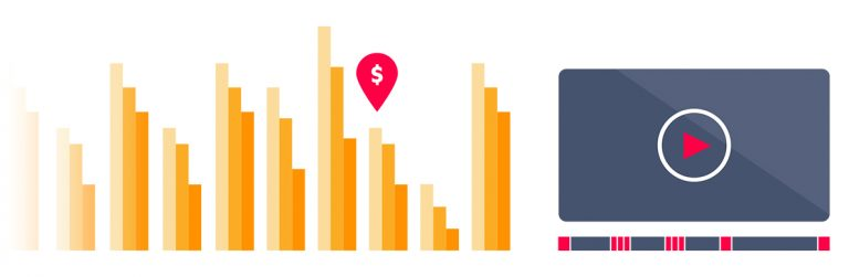 Vague representative graphs showing how video advertising can be used to promote a business