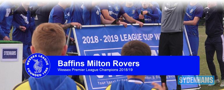 Custom graphic showing Wessex Premier League 2019 victors Baffins Milton Rovers